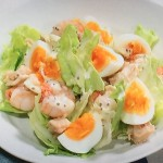 きょうの料理ビギナーズはゆで卵とえびのサラダ、水菜とわかめの温泉卵のせレシピ!