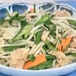 NHKきょうの料理はにら豚もやし、クイック長芋酢豚レシピ!杵島直美の1人分中国風おかず